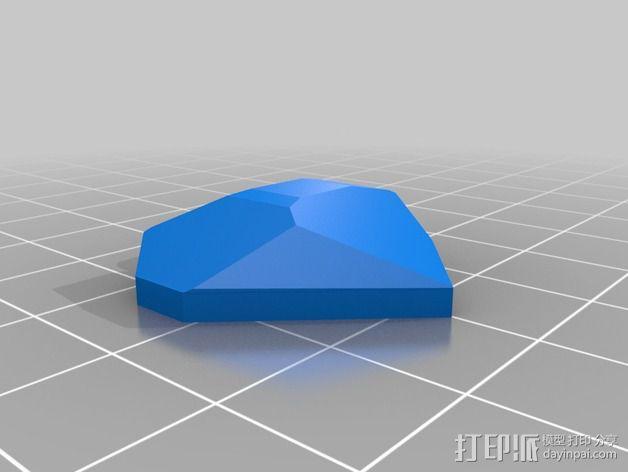 翻光面心形吊坠 3D模型  图4