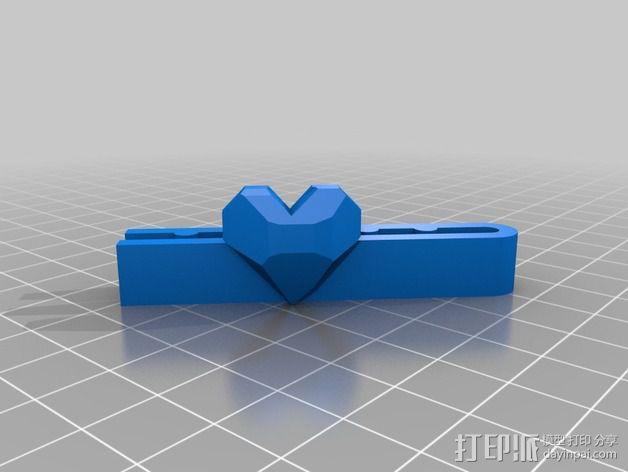翻光面心形吊坠 3D模型  图5