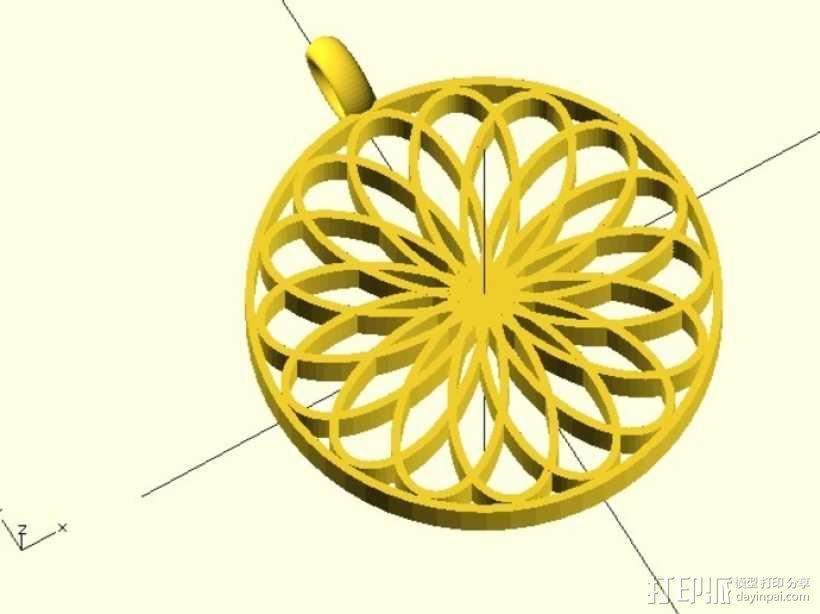 玫瑰线 吊坠 3D模型  图1