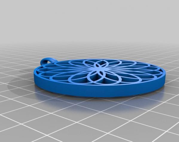 玫瑰线 吊坠 3D模型  图3