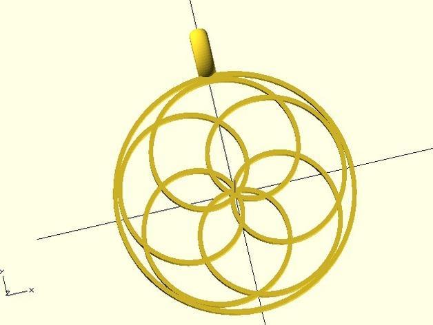 玫瑰线 吊坠 3D模型  图4