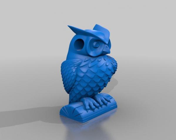 猫头鹰项链 3D模型  图1