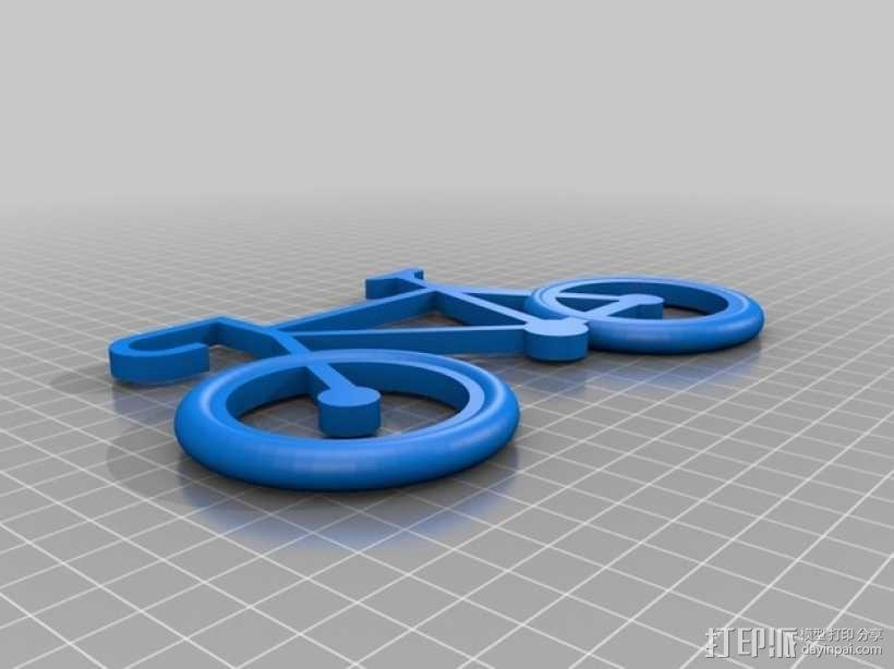 自行车 钥匙扣 3D模型  图3