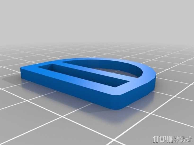 钥匙圈 D形环 3D模型  图3
