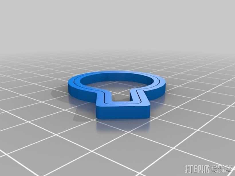 钥匙圈 D形环 3D模型  图4