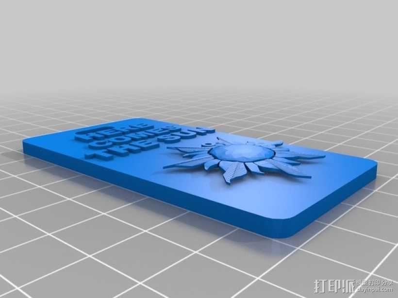 太阳图案 手机套 3D模型  图1