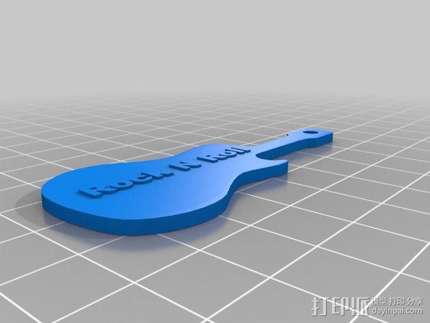 吉他钥匙扣 3D模型  图2