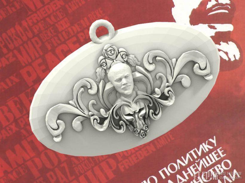 列宁浮雕吊坠 3D模型  图1