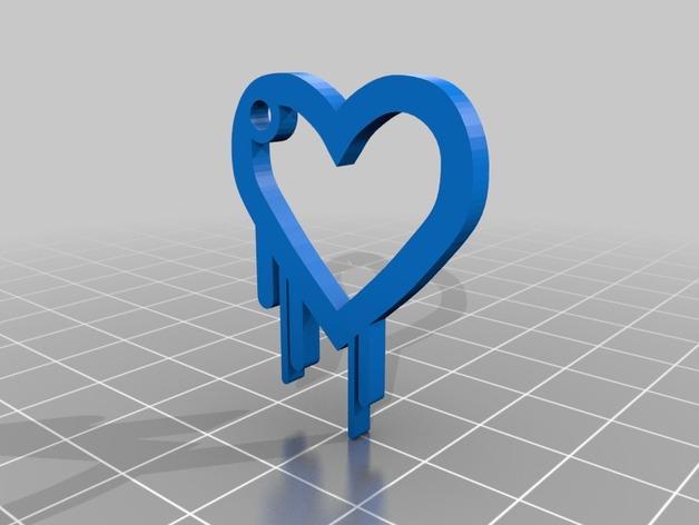 淌血的心脏 钥匙扣 3D模型  图2