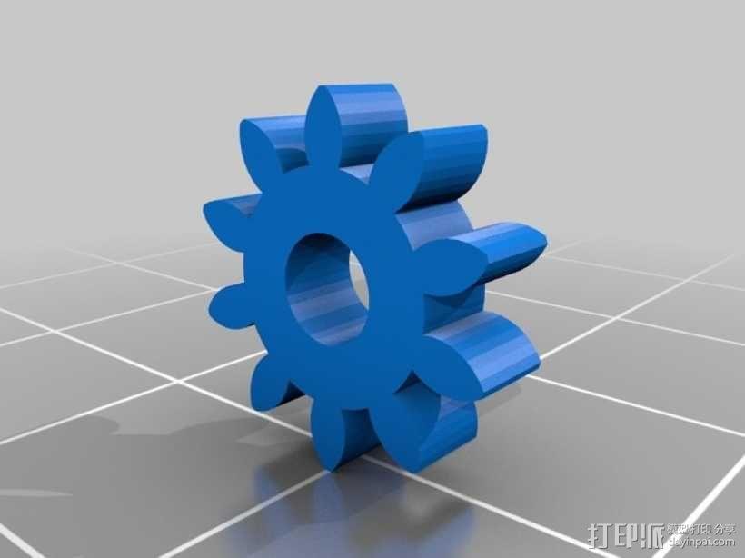齿轮形领带夹 3D模型  图2