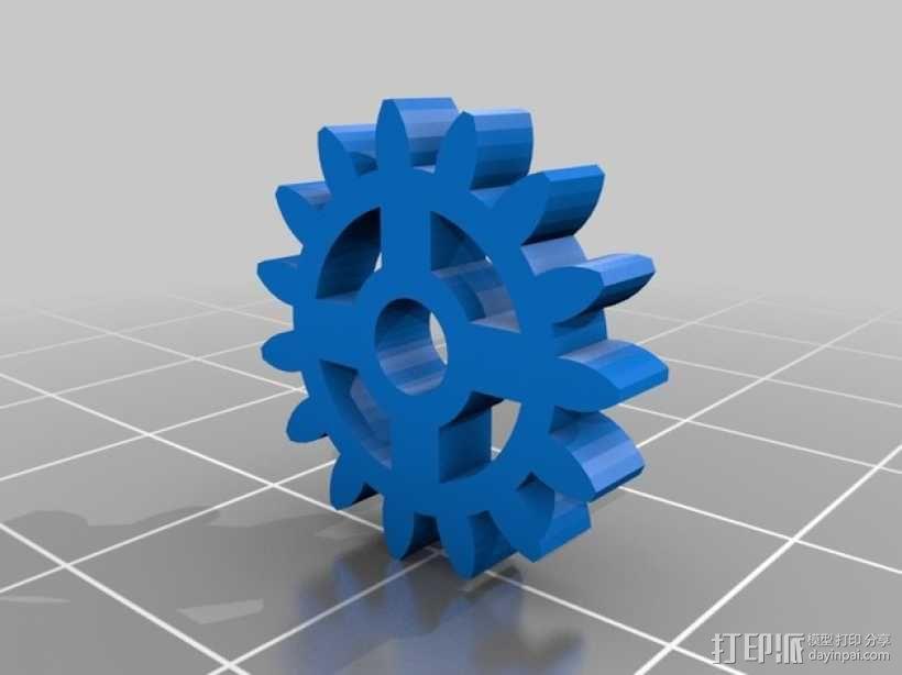 齿轮形领带夹 3D模型  图3