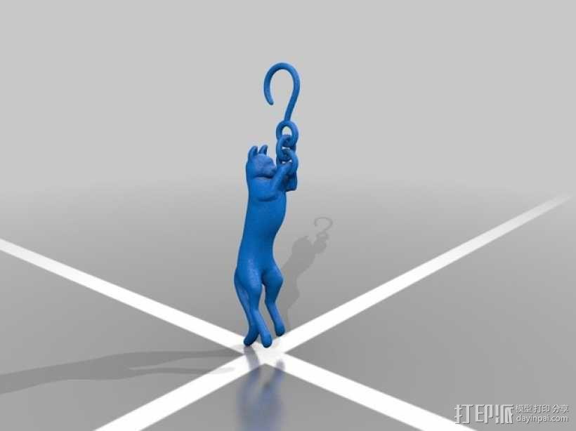 猫咪耳环 耳坠 3D模型  图2