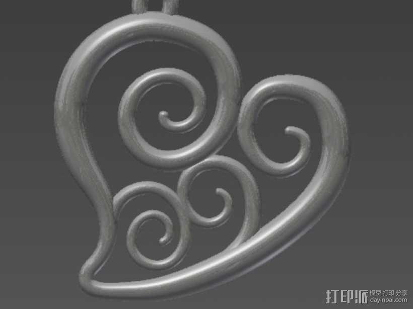 螺旋心形吊坠 3D模型  图1