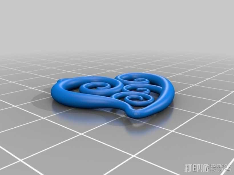 螺旋心形吊坠 3D模型  图2