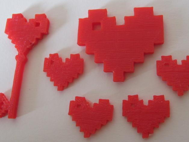8 Bit 心形坠饰 3D模型  图3