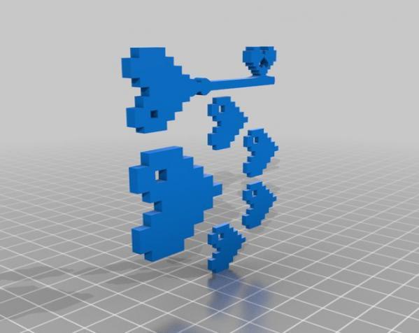 8 Bit 心形坠饰 3D模型  图2