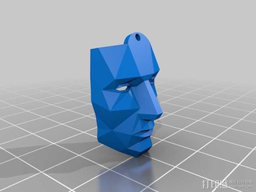 低面数面具 吊坠 3D模型  图1
