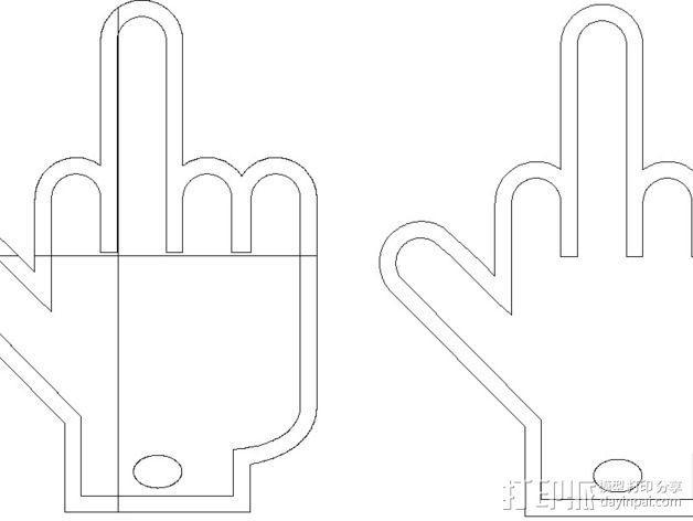 竖中指钥匙扣 3D模型  图2