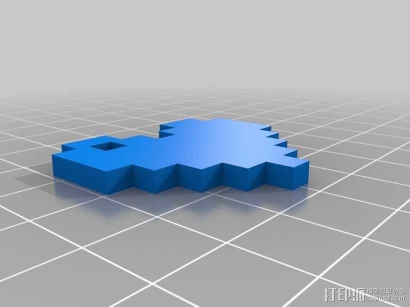 8 Bit 心形吊坠 3D模型  图1