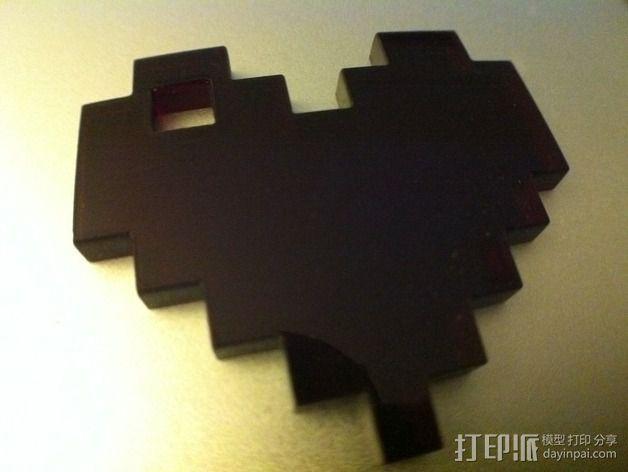 8 Bit 心形吊坠 3D模型  图2