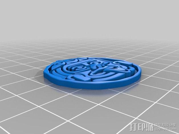 aztec人脸面具 3D模型  图1