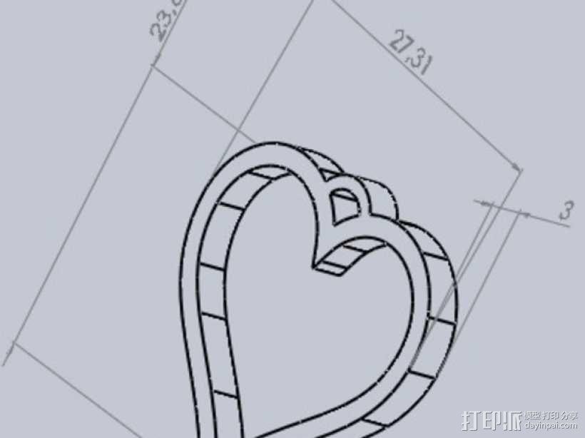 心形坠饰 3D模型  图3