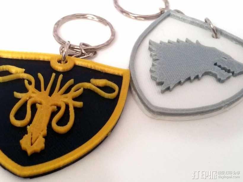 Greyjoy冰原狼 钥匙坠 3D模型  图2