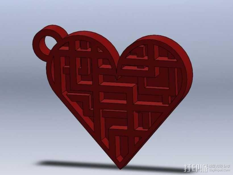 心形钥匙坠 3D模型  图1