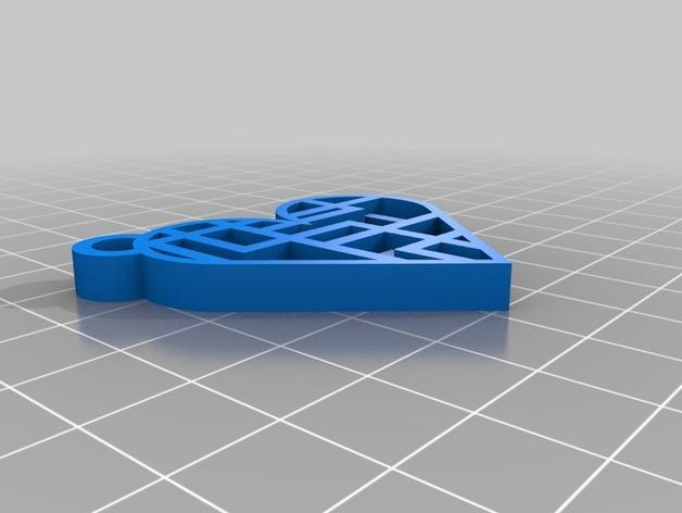 心形钥匙坠 3D模型  图2