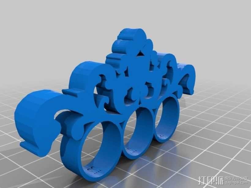 巴洛克风格手指套环 3D模型  图2