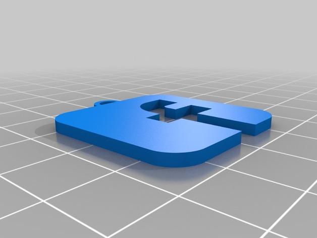 Facebook 徽标钥匙坠 3D模型  图2