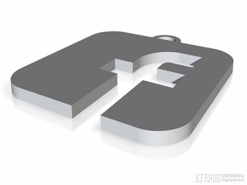 Facebook 徽标钥匙坠 3D模型  图1