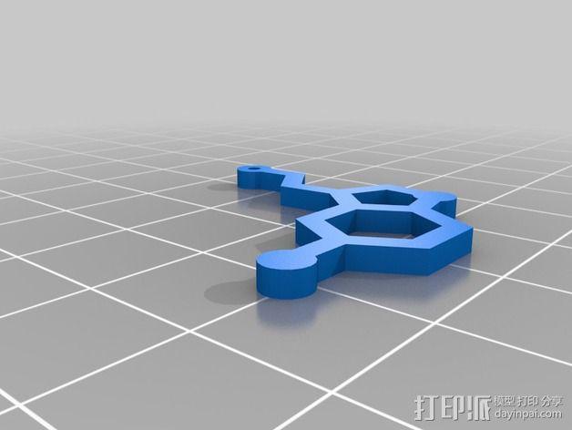 分子结构 耳环 3D模型  图2