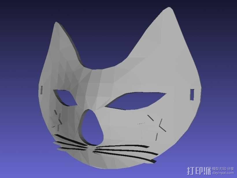 猫咪 舞会面具 3D模型  图1