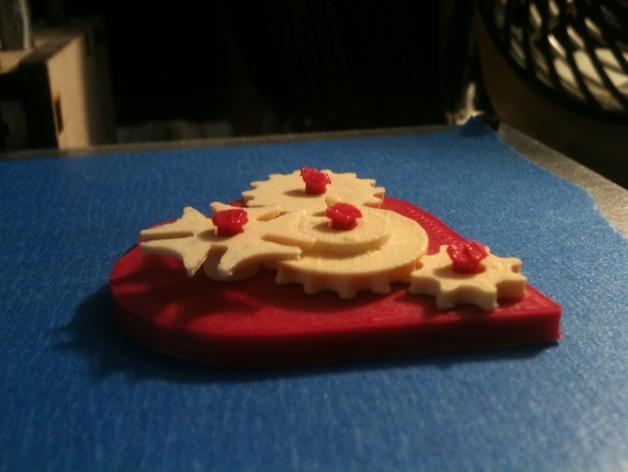 齿轮心形吊坠 3D模型  图2