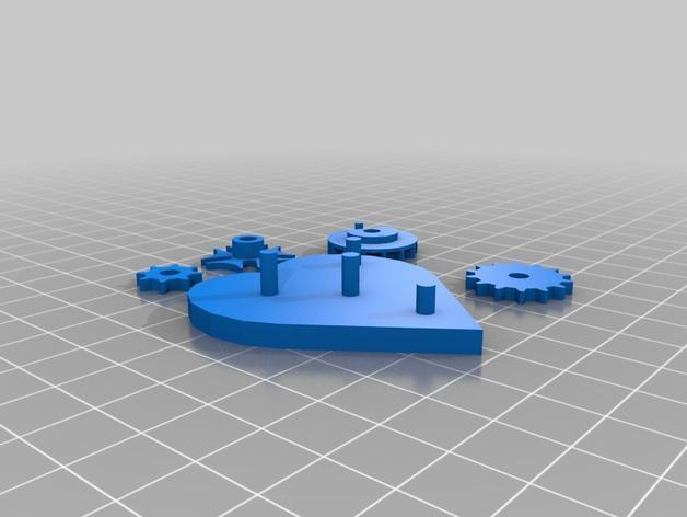 齿轮心形吊坠 3D模型  图5