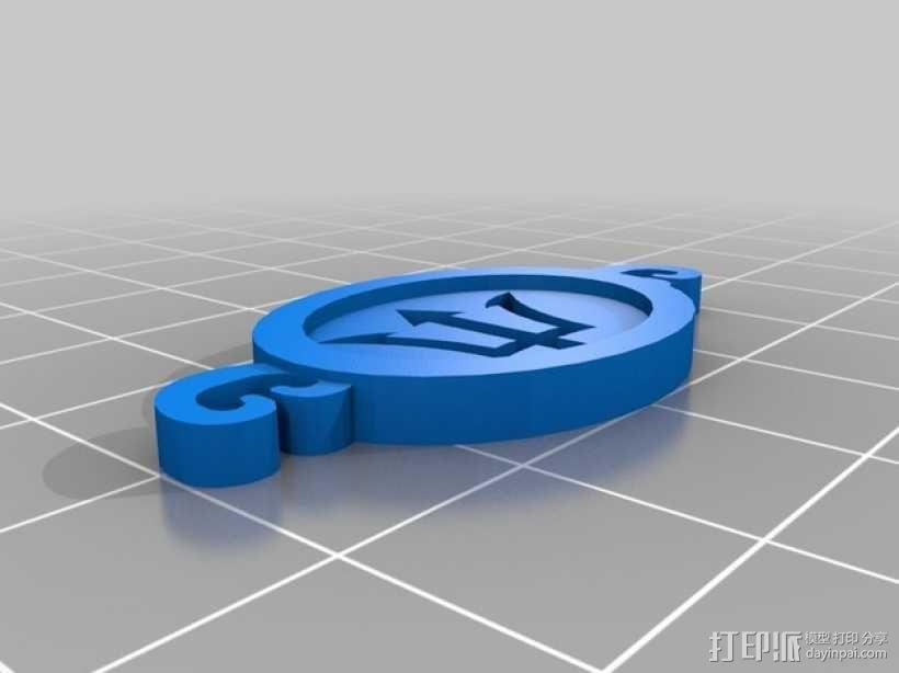 三叉戟 坠饰 3D模型  图2