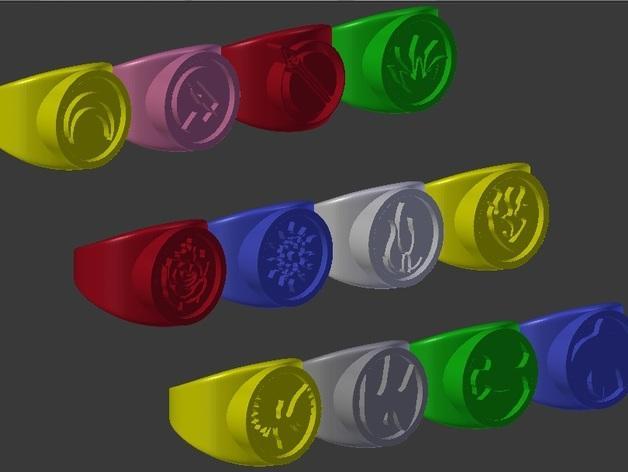红白黑黄 指环 3D模型  图2