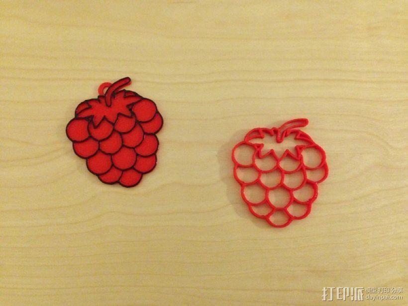 树莓 坠饰 3D模型  图1