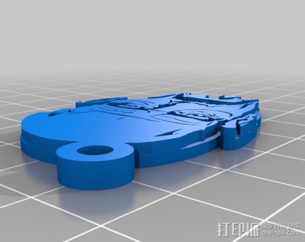 Walter White头像吊坠 3D模型  图4