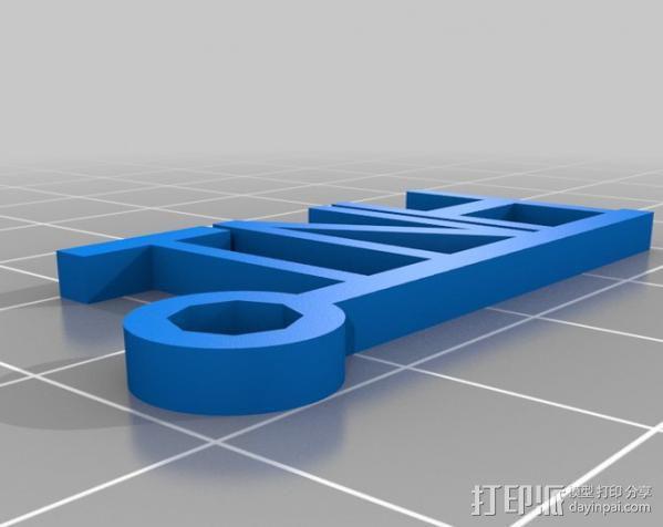 钥匙坠 模具 3D模型  图2