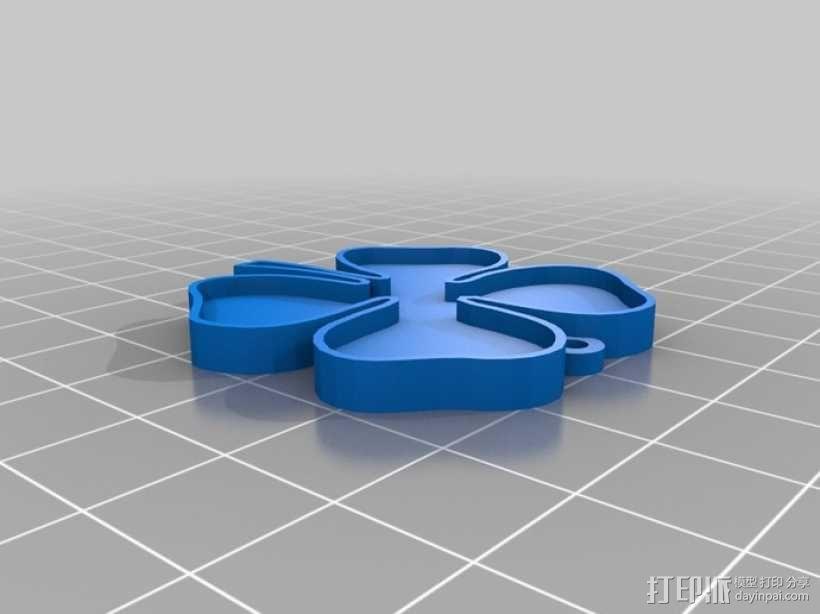 四叶草吊坠 3D模型  图1