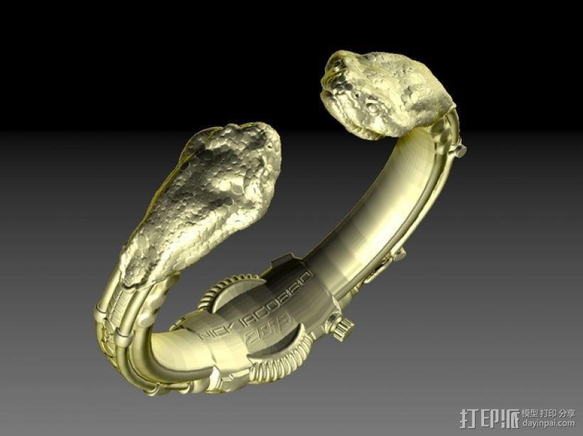 朋克风蛇头手镯 3D模型  图2