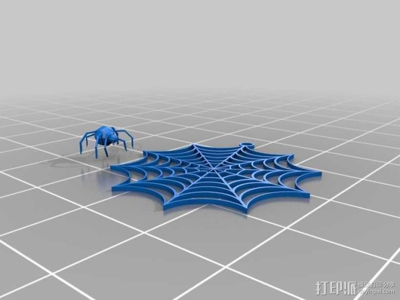 蜘蛛网 耳坠 3D模型  图1