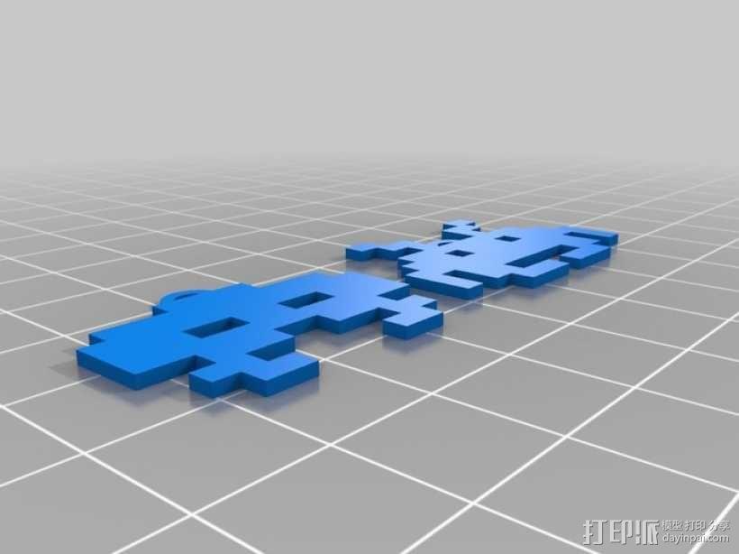 太空入侵者 耳坠 3D模型  图2