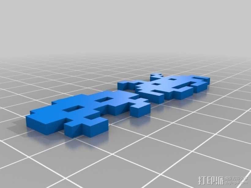 太空入侵者 耳坠 3D模型  图3