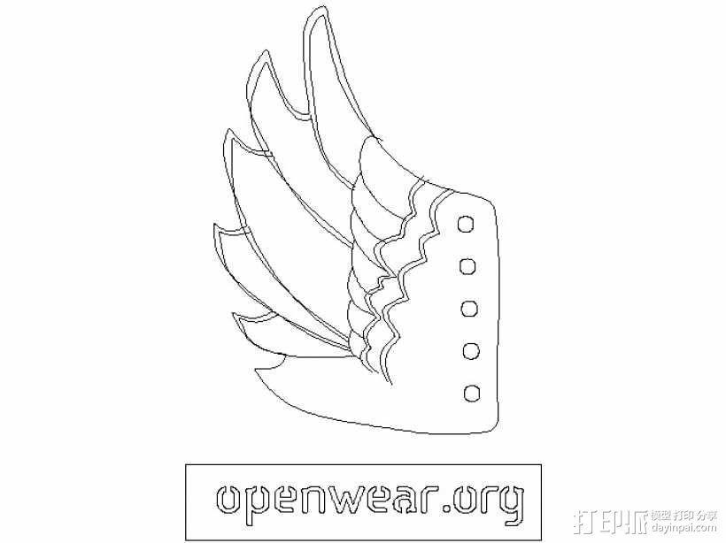 天使翅膀 3D模型  图1