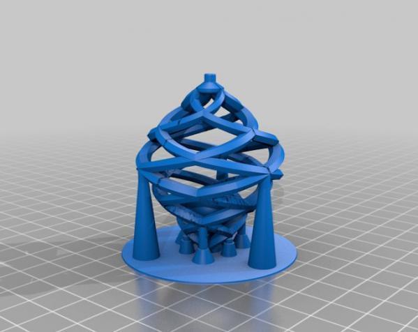螺旋形 项链坠 3D模型  图2