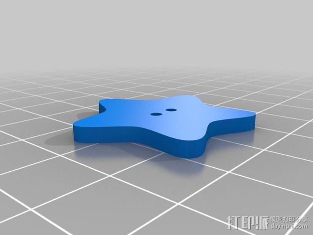 星星纽扣 3D模型  图2