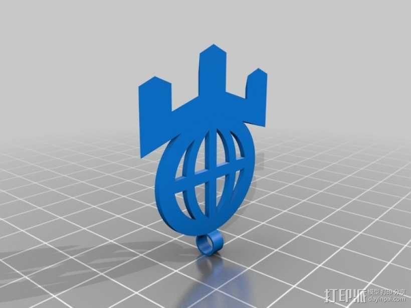 门萨 标志 3D模型  图3